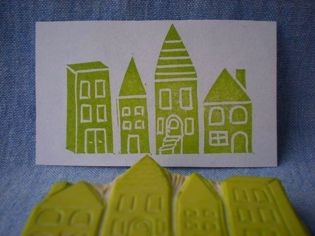 row of houses stamp, hand carved rubber stamp, handmade rubber stamp