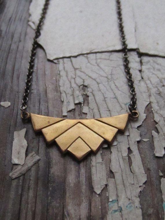 chevron necklace, brass, art deco. lotus. $18.00, via Etsy.