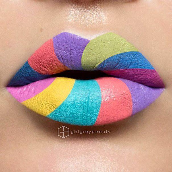 Rainbow lip art | Pininterest: kriskeyi/Art Inspiration Ideas