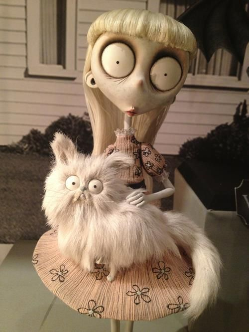 Weird girl & Mr. Whiskers. Pretty much me if I was a Tim Burton character.