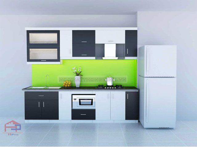 Hpro chuyên cung cấp Tủ bếp Acrylic TBAC135 thiết kế dáng chữ I nhỏ gọn với gam màu trắng- đen đối lập mang lại căn bếp ấn tượng, thu hút, mới lạ
