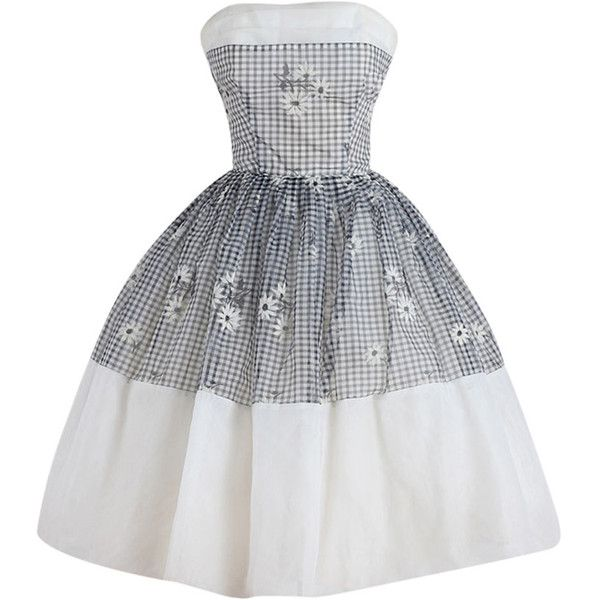 Pre-owned Vintage 1950s Gingham Daisy Cocktail Dress ($285) ❤ liked on Polyvore featuring dresses, vintage, cocktail dresses, evening dresses, black cocktail dresses, preowned dresses, back zipper dress, kohl dresses and vintage cocktail dress