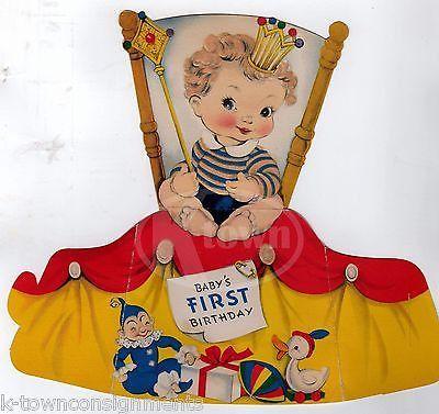 CUTE BLONDE BABY BOY'S FIRST BIRTHDAY VINTAGE STAND-UP GRAPHIC ART BIRTHDAY CARD