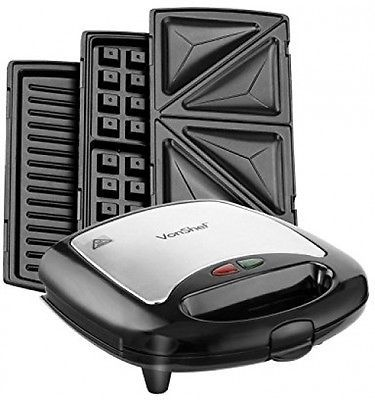 Sandwich/ Panini Maker, Waffle Iron and Grill With Removable  3 In 1