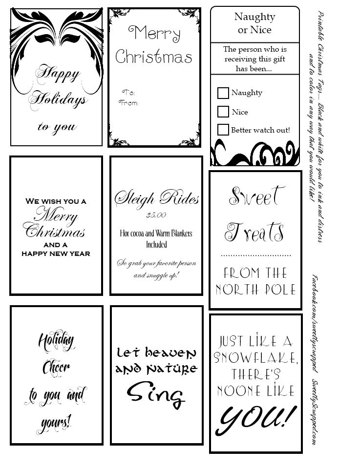 Free printable christmas tags in black and white. Color, ink, distress the way you'd like to