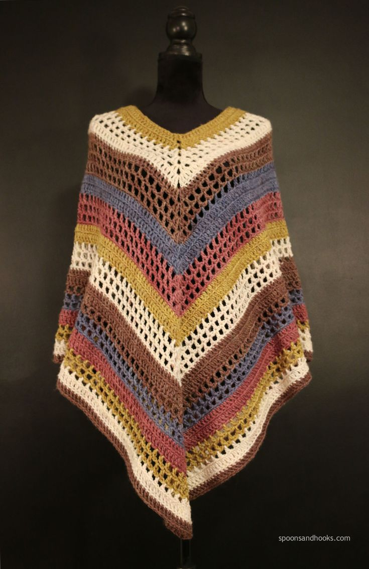 The easiest poncho you'll ever make - free crochet pattern at Spoons & Hooks