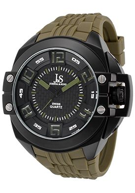 Special Offers Save 90% Off Joshua & Sons Men's Green Silicone Black Dial Black IP SS