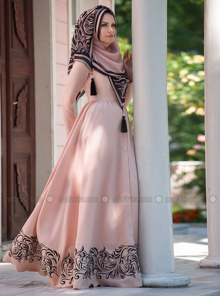 embroidered flounce dress powder muslima wear - Mouslima Mariage