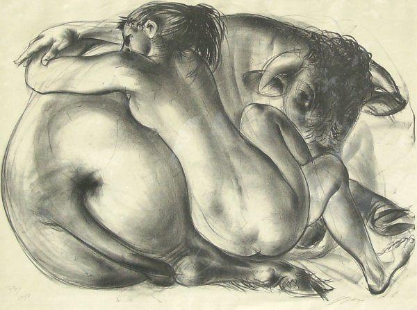 Hans Erni - Rape of Ueropa - Lithograph