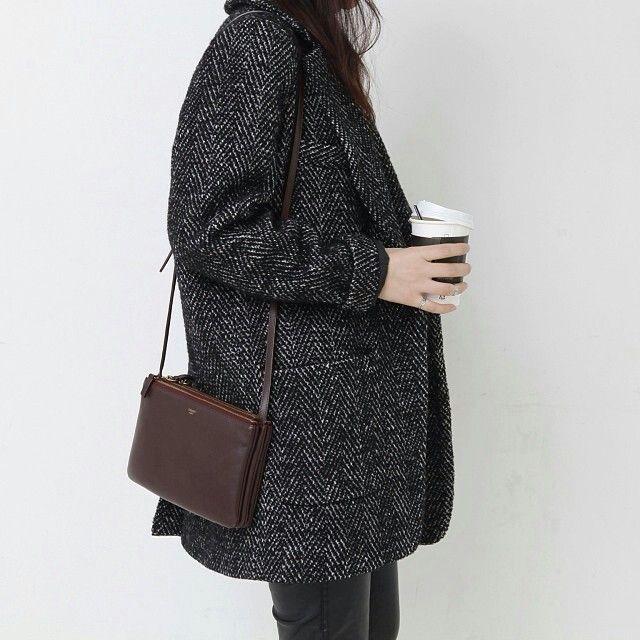 Grey on grey; herringbone jacket; grey jeans; everyday casual