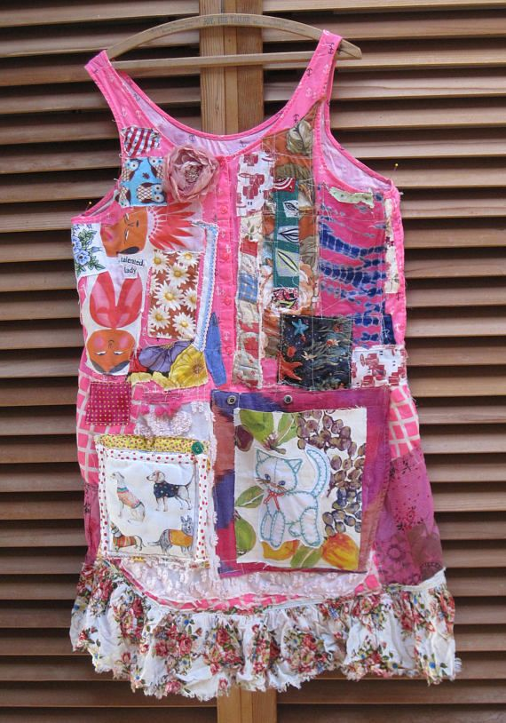 my bonny  Folk Art Collage Clothing that   bright pink anchor fabric owls antique patchwork bark cloth kimono sash Asian words: TALENTED LADY chintz flowers Irish linen pompoms dogs (as pocket) kitty embroidery (on other pocket) roses ruffle fruit batik sea starfish chenille sun Coney