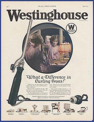 Vintage 1924 WESTINGHOUSE Electric Curling Iron Bathroom Art Decor Print Ad 20's