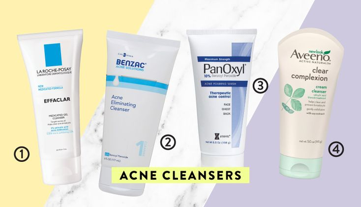 1. La Roche-Posay EffaclarMedicated Gel Cleanser: This gel cleanser foams up to rinse away oil and dirt, but won't leave your skin feeling tight.($15, ulta.com) 2. Benzac Acne Eliminating Cleanser: This creamy cleanser has a dose of benzoyl peroxideto help balance out oily and acne-prone skin types. ($8, amazon.com) 3. PanOxyl 10% Acne Foaming Wash: You can use this powerful benzoyl peroxidewash on your face as well as your body to get rid of bacne. ($10, target.com) 4. Aveeno Clear