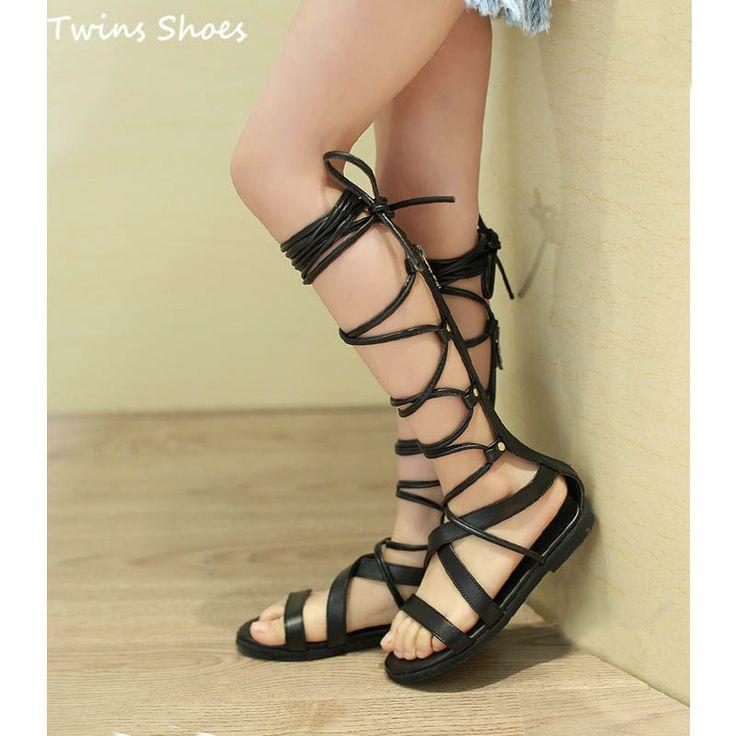 2016 новые летние девушки крест ремень сандалии детей высокие гладиатор сандалии высокие сандалии для детей сандалии загрузки обувь черный