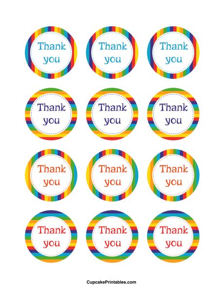 Thank you cupcake toppers. Use the circles for cupcakes, party favor tags, and more. Free printable PDF download at http://cupcakeprintables.com/toppers/thank-you-cupcake-toppers/