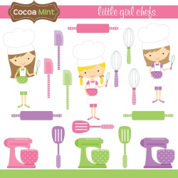 Cute art for cooking party invites, favors, etc.