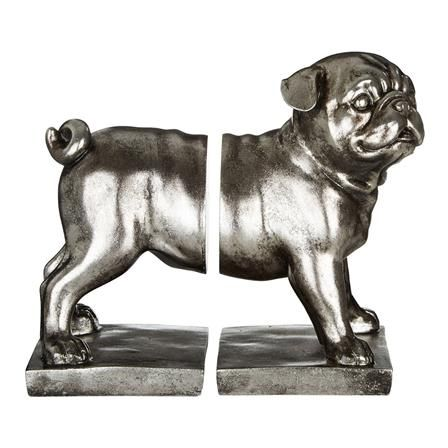 Set of 2 Pug Bookends, Antique Silver