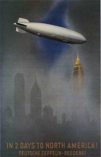 German Zeppelin travel poster