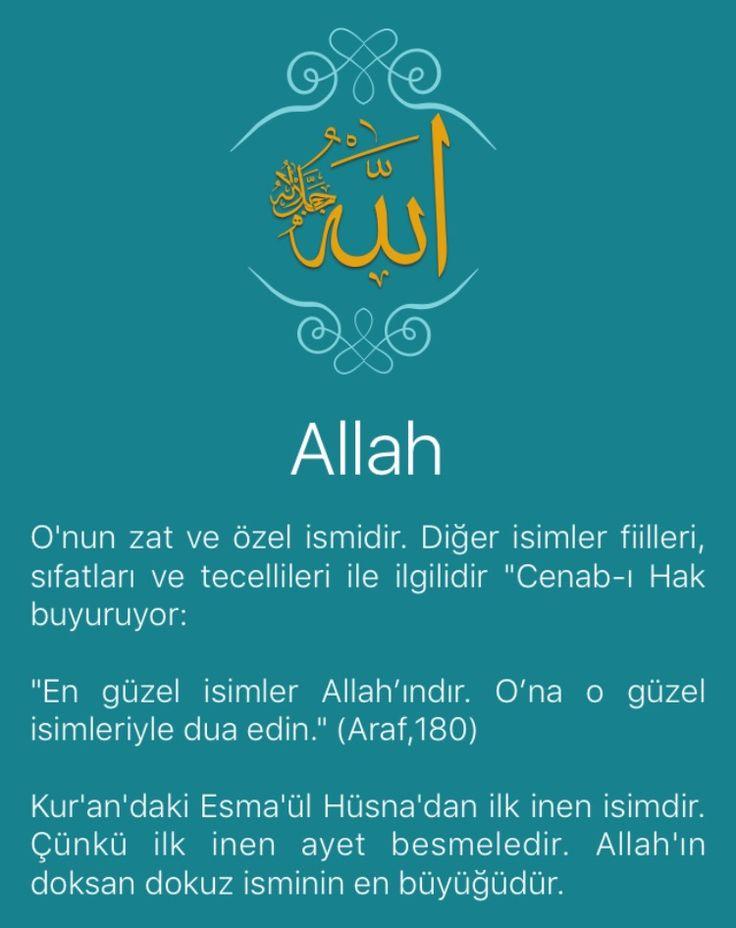 """O'nun zat ve özel ismidir. Diğer isimler fiilleri, sıfatları ve tecellileri ile ilgilidir """"Cenab-ı Hak buyuruyor:   """"En güzel isimler Allah'ındır. O'na o güzel isimleriyle dua edin."""" (Araf,180)   Kur'an'daki Esma'ül Hüsna'dan ilk inen isimdir. Çünkü ilk inen ayet besmeledir. Allah'ın doksan dokuz isminin en büyüğüdür.   Hz. Ebu Hüreyre (r.a) anlatıyor: Resulullah (sav) buyurdular ki: """"Allah'ın doksan dokuz ismi vardır. Kim ezberlerse cennete girer. Allah tektir, teki sever."""" Esmâ'ül…"""
