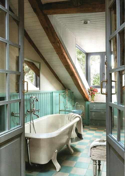 bathroom, free standing bathtub, wood ceiling, turquoise and white tiles