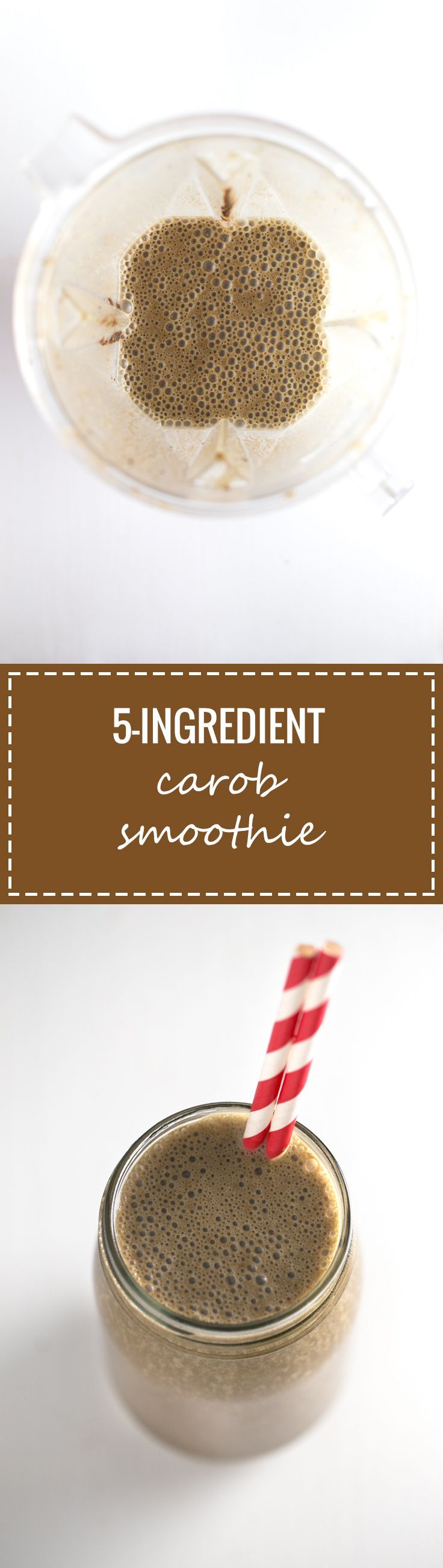 I make this 5-ingredient carob green smoothie all the time! It's so convenient to eat on the go, you just need to store it in a glass jar.