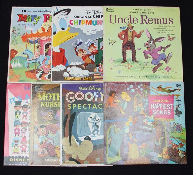 7 Vintage 1960s Disney Disneyland Record Albums Uncle Remus Goofy Small World  | eBay