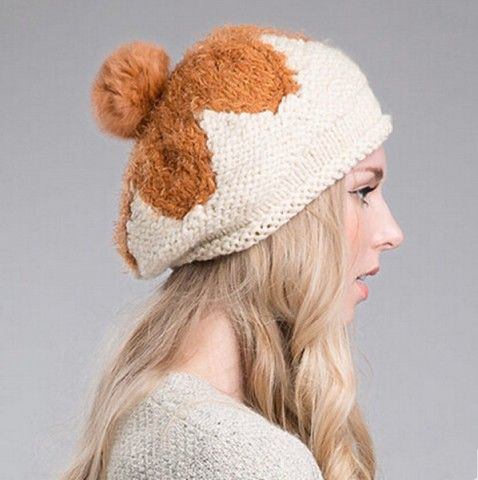 Warm flower knit beret hat for women Rabbit fur ball winter hats