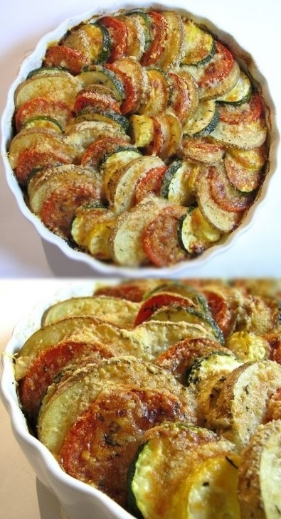 Vegetable Tian - a beautiful side dish with potatoes, tomatoes, yellow squash, zucchini, caramelized onions and garlic.