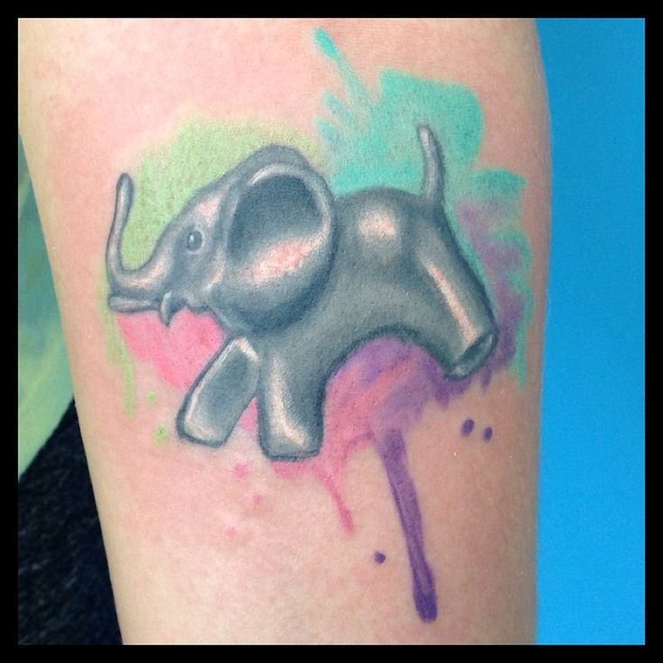 Water colour design tattoo. Elephant was a pendent the client wanted to make a tattoo of. Tattooed By Autumn Fawcett