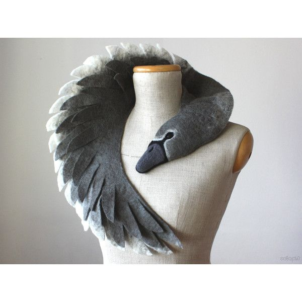 Ugly Duckling Grey Swan (dark version) felted wool animal scarf, stole... ($185) ❤ liked on Polyvore featuring accessories and scarves