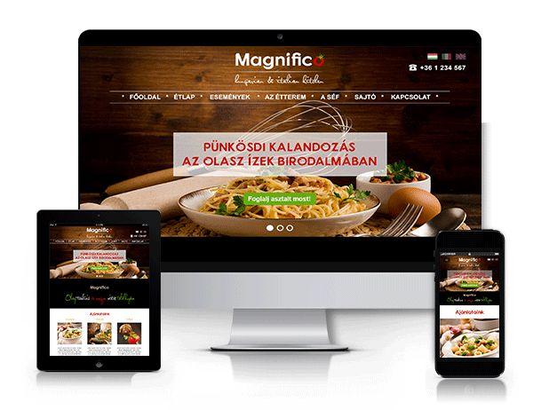Magnifico étterem responsive webdesign