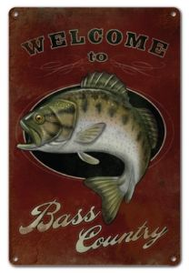 """RG10F Bass Country Fishing Sign - 12""""x18"""" Aluminum Sign"""
