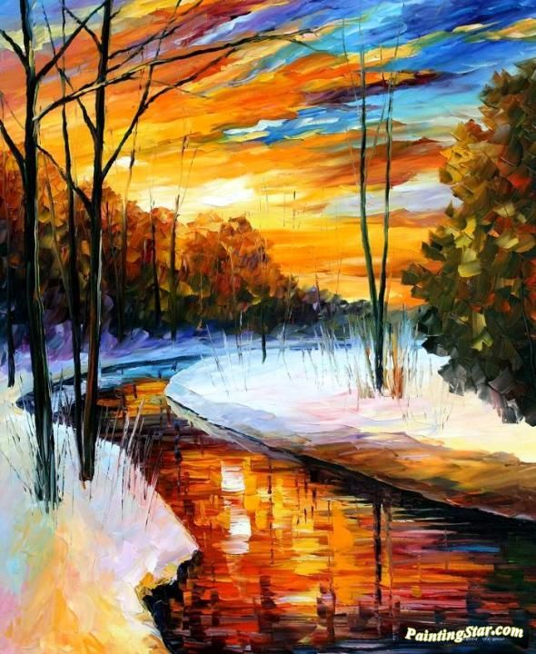 Winter sunset Artwork by Leonid Afremov Hand-painted and Art Prints on canvas for sale,you can custom the size and frame