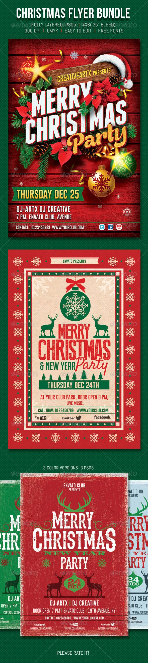"Christmas Flyer Bundle #GraphicRiver 'Christmas Flyer Bundle' contents include – Fully layered 3 PSDs 4""x6"" (.25"" bleed) CMYK -Print Ready, 300 DPI Christmas Flyer Bundle contained: graphicriver /item/christmas-party-flyer/6053479?WT.ac=portfolio&WT.seg_1=portfolio&WT.z_author=creativeartx graphicriver /item/christmas-party/6003043?WT.ac=portfolio&WT.seg_1=portfolio&WT.z_author=creativeartx graphicriver /item/christmas-party/6109331?WT.ac=portfolio&WT.seg_1=portfolio&WT.z_author=creativeartx…"