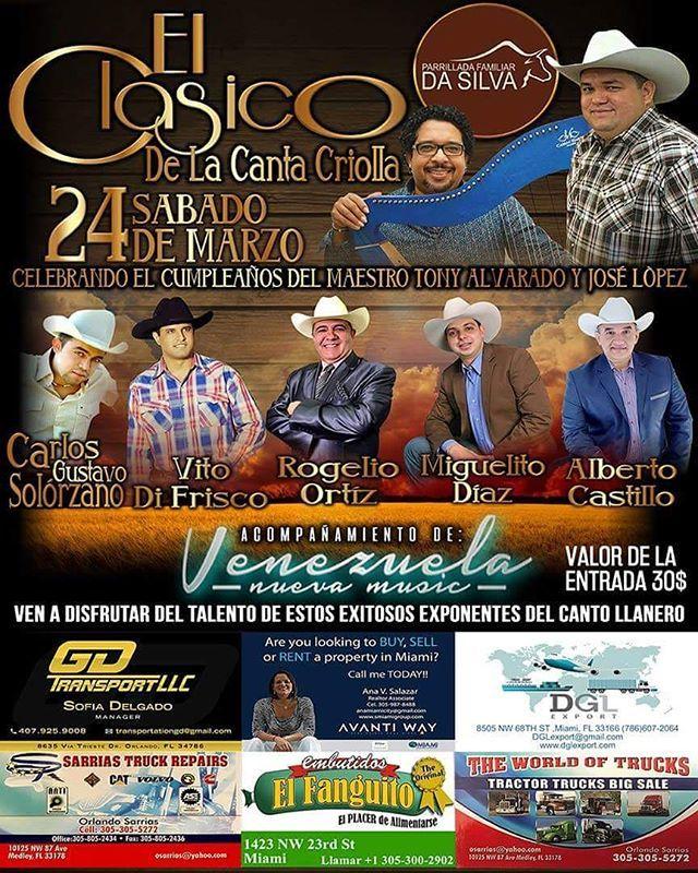 @laradioveguera y @msdesigners presenta:  Atención y prevenidos para este 24 de Marzo A disfrutar del  CLASICO DE LA CANTA CRIOLLA Si aquí en MIAMI en las instalaciones de  PARRILLADA FAMILIAR DA Silva @parrilladasilva CELEBRANDO EL CUMPLEAÑOS  DEL MAESTRO ARPISTA TONY ALVARADO @tonyalavaradoochoa Y  DEL CANTANTE JOSE LOPEZ  @joselopezcoplero Donde estaràn como invitados especiales Rogelio Ortiz El CaballeroDel canto @rogelioortizoficial  Alberto Castillo @AlbertoCastillo1  Miguelito Díaz El…
