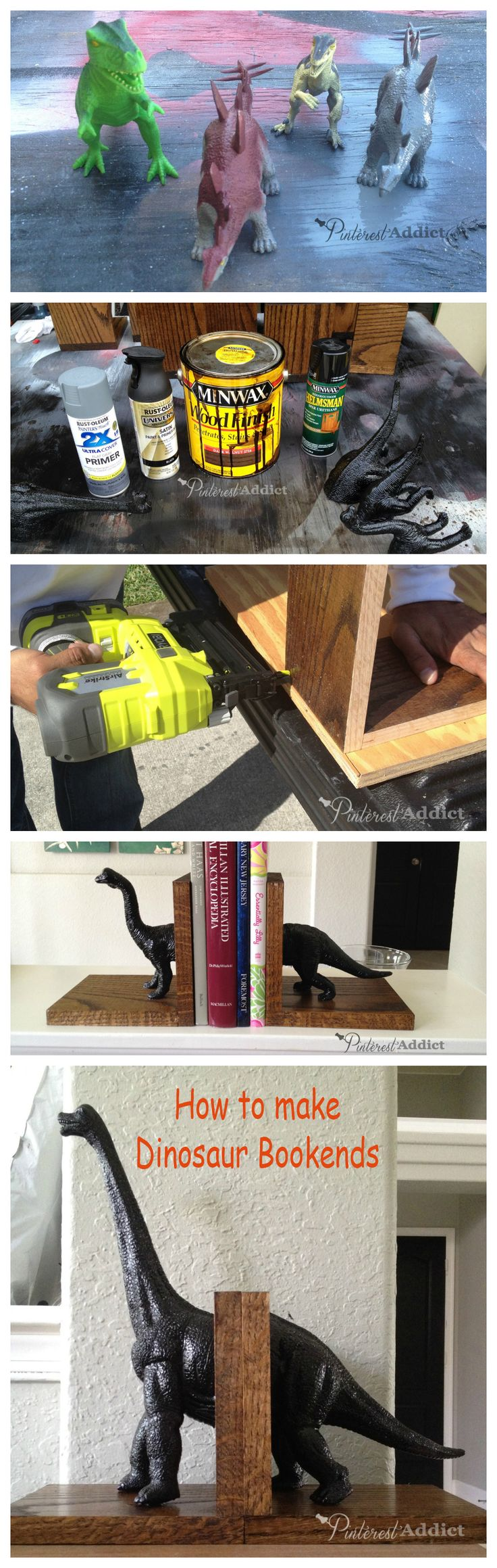 How to make dinosaur bookends @ Pinterest Addict