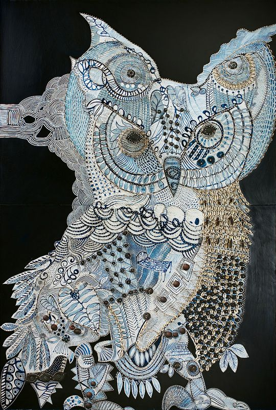 Owl of blue taro - Pittwater, carved board with oil , cane and shells, 182 x 122 cm