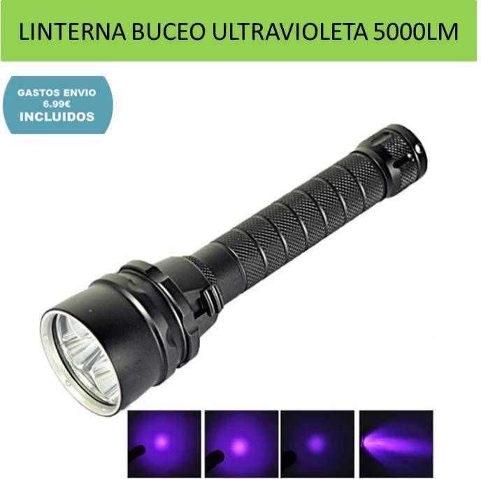 Linternas iluminacion buceo y submarinismo. Linterna luz ultravioleta 5000 lumenes.