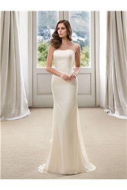 Strapless Spring Winter Sweep/Brush  Plus Size Simple & Casual Floor-Length Sheath/Column Wedding Dress