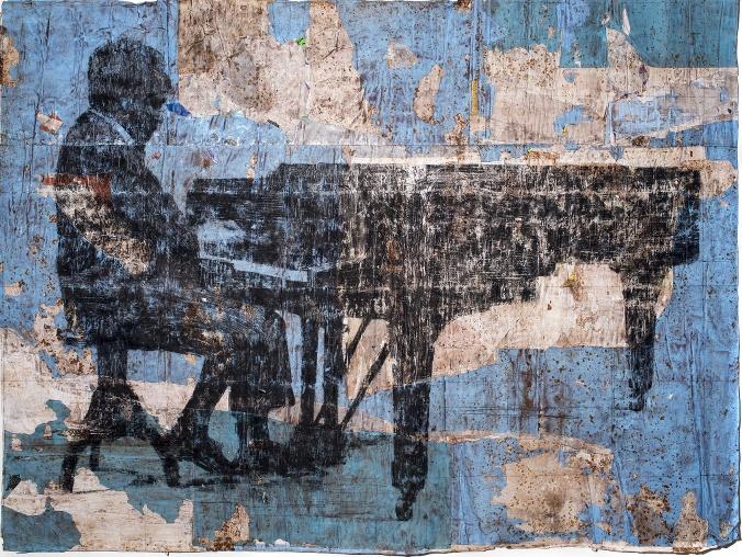 Blue Monk, 2013, tecnica mista su cartone, mostra galleria Il Ponte, 2013