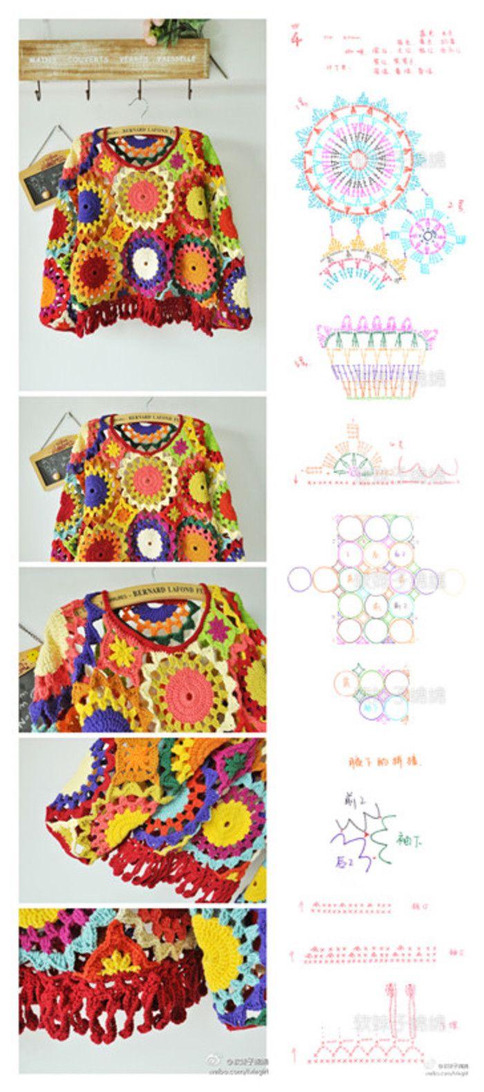 Multicolored crochet wool sweater attractive parquet Sen Department