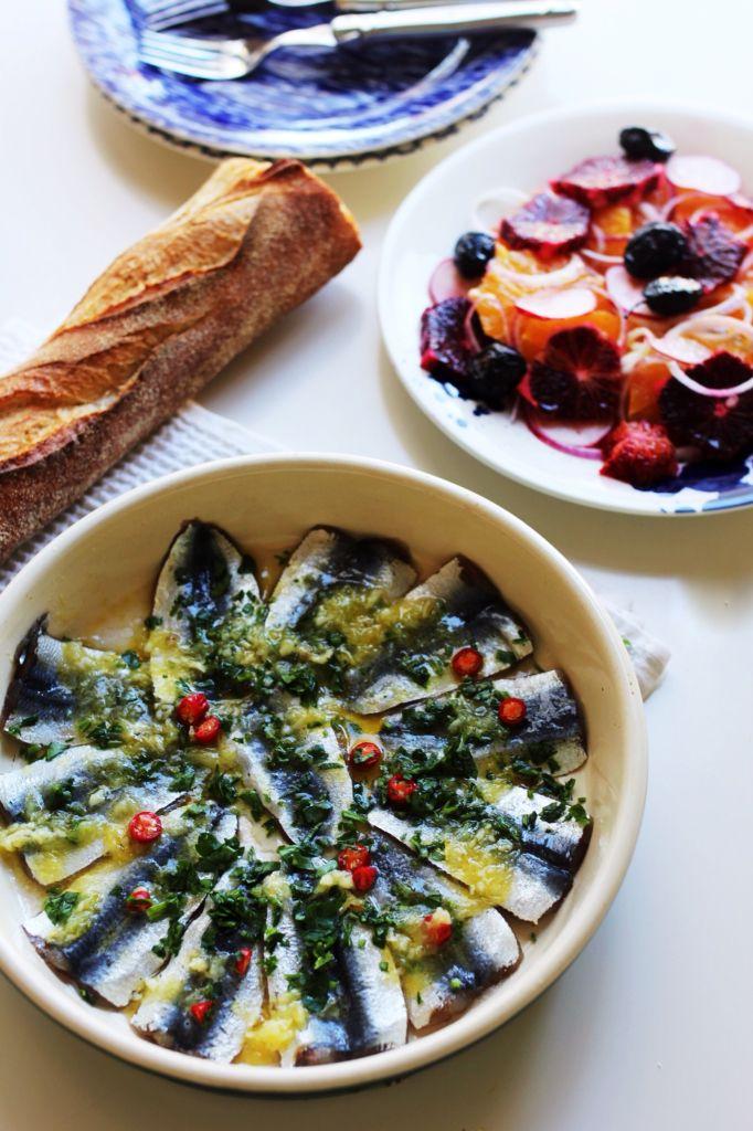 Greek-style marinated sardines