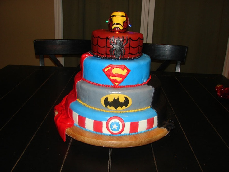 Superhero cake #Birthday  DIY Fabric Pom Poms  You can find everything fun and fabulous about being a parent on Modern Parent Online! www.modernparentonline.com