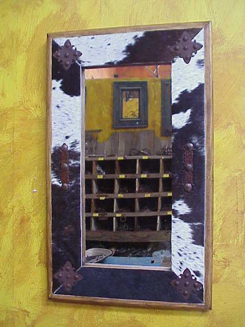 22 X 36 Mirror Part - 50: Cowhide Medallion Mirror-Wood-Mexican-22x36-Rustic-Cowboy-Clavos-