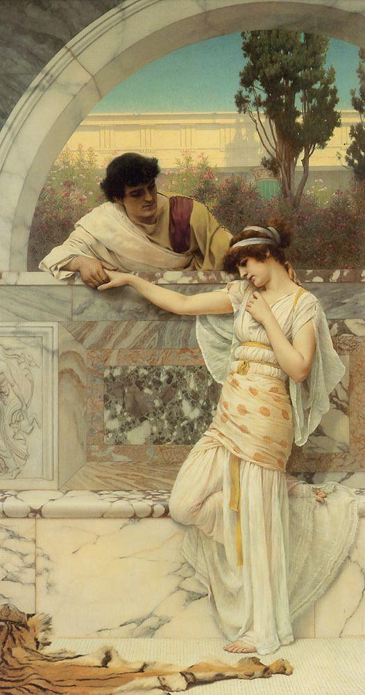 John William Godward (1861-1922)  'Yes or No?'  Oil on canvas  1893