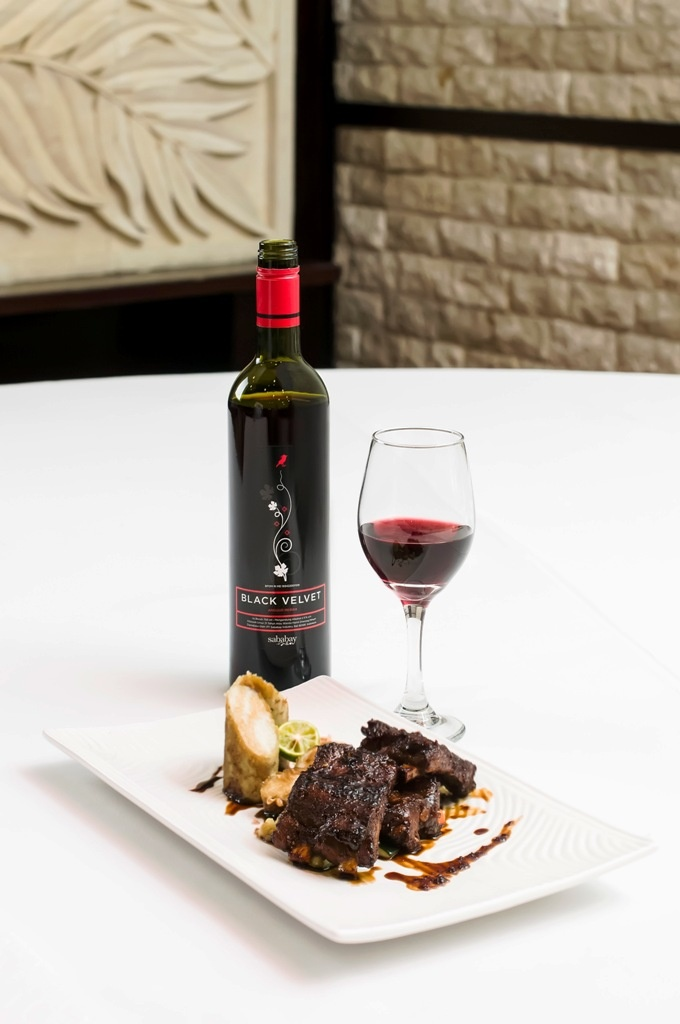 Sababay Black Velvet light red wine style paired with spare ribs-soy sauce