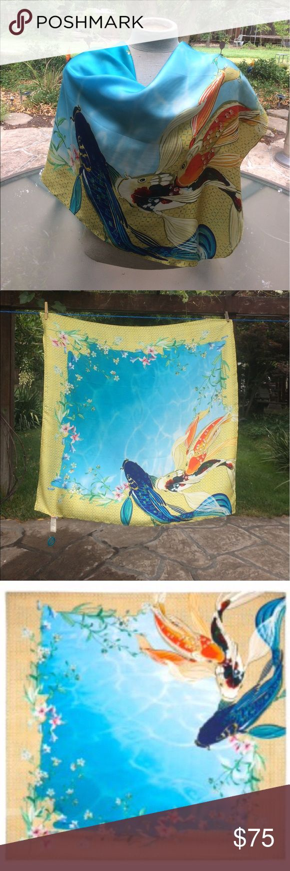 """🐠 Johnny Was - STUNNING, Multi-Colored Scarf NEW! Vivid & Beautiful! Brand New, Multi-Colored, """"Johnny Was"""" 100% Silk Signature KOI Scarf! Comes with a Scarf Holder still attached to Tag (never worn). Can be worn as a Sarong also. This square (33"""" x 33"""") Silk twill scarf features a bold koi fish print on a yellow and blue background. Photos cannot show how beautiful & show-stopping this item is! Please see Photos with descriptions of this prize find. Bundle additional items from my closet…"""