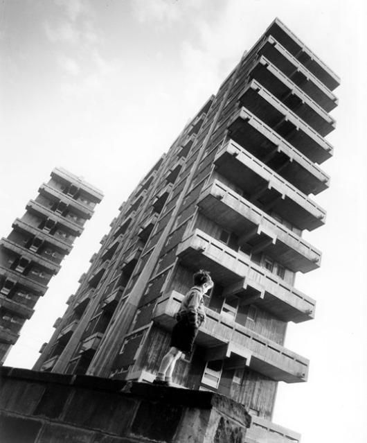 Tower blocks in the Gorbals, Glasgow, 1954. Architect - Sir Basil Spence. Photograph - Henk Snoek.