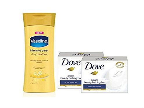 Vaseline Intensive Care Deep Restore Body Lotion, 300ml with Free Dove Bar