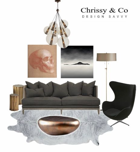 Clients Conceptual Living room Design By Chrissy & Co Design Savvy. McQueen Inspired living room.